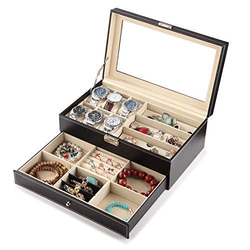 Nelson juwelendoos, juwelendoosje juwelendoos opbergdoos dubbele laag 30,5 * 20,5 * 13cm, C D