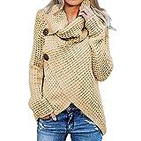 POLPqeD Sueter Mujer Invierno Rebajas Chaquetas Largas Mujer Jersey Dobladillo Asimétrico Suéter Irregular Collar de la Pila Tops Abrigo Entretiempo Mujer de Talla Grande Jersey Rojo Multicolor S~5xl