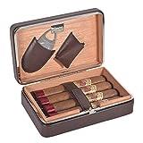 Volenx Cave à cigares en cèdre espagnol doublé avec humidificateur à cigares et ciseaux à...