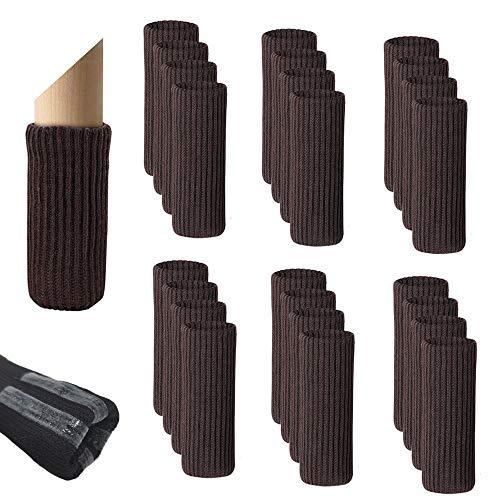 24pz Calcetines para Patas de Silla con Tiras Antideslizantes, Creatiees Doble Engrosamiento Protectores de Piso para Patas de sillas, Antiruido Protectores de Patas de Madera Gruesa(Marrón)
