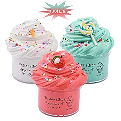 Lot de 3 Kits et Breloques au Beurre Slime, Cloud Slime parfumé, Litchi Fruit Slime, Lollipop Slime, Blue Candy Slime et White Ice Cream Slime Soft & Non-Sticky Fluffy Clay, DIY Sludge Toy Gift