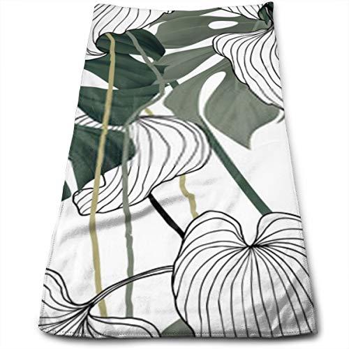 YudoHong Patrón sin Costuras Floral Verde y Blanco Hoja Dividida Philodendron Planta con vides sobre Fondo Blanco Pastel Vintage Tema Baño Mano a