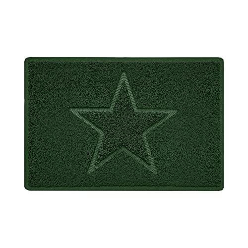 Nicoman Estrella - Felpudo Logotipo en Relieve Rizos de Vinilo Entrada Bienvenido Lavable Alfombra - (Usar en Interiores y Exteriores), Pequeño (60x40cm), Verde