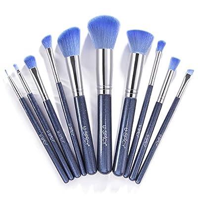 Makeup Brushes, USpicy Professional Makeup Brush Set 10 Pieces (Soft Synthetic Fiber for Uniform Application of Blush, Creams, Liquids, Contouring & Powders)-Blue