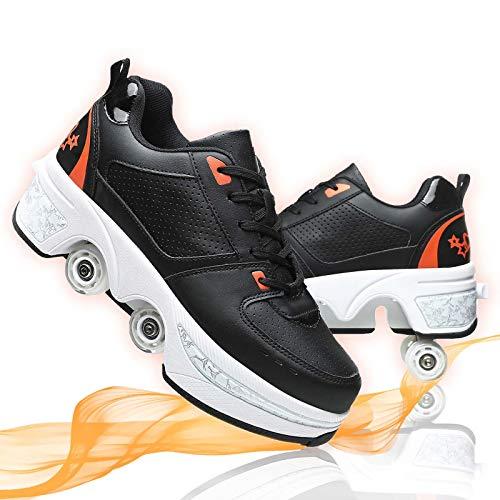 Deformar Patines De Ruedas Grandes Patines En Línea Ajustables Zapatos De Deformación De Doble Fila para Patines Caminar Unisexo,Black Orange,37