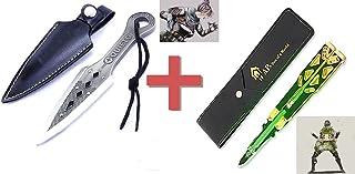 APEX 荧光版蝴蝶刀 恶灵匕首 2件套 带刀鞘 apex商品 武器 玩具收藏 动力小子 恶灵 传家宝 短剑 训练模型 金属制品 手工装饰品