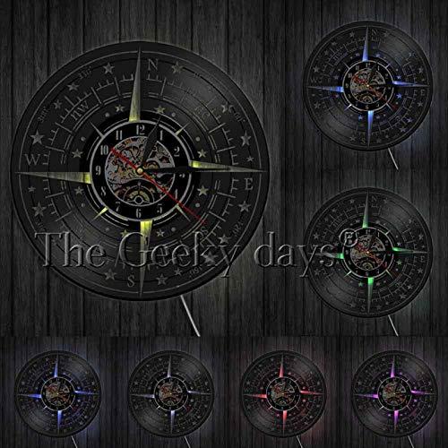 llvvv Brújula Rosa Decoración de Pared Diseño Moderno Reloj de Pared Registro náutico Reloj de Pared Dirección de navegación Marineros Marineros Regalo