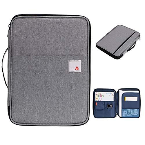 Bstkey Multifunktionale A4-Dokumententaschen, Portfolio-Organizer, wasserfeste Reisetasche mit Reißverschluss für iPads, Notizbücher, Stifte, Dokumente (grau)