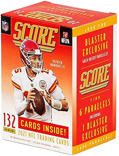 NEW 2021 Panini SCORE Football Cards FACTORY SEALED Blaster Box with 132 Cards - Look for Trevor Lawrence, Zach Wilson, Justin Fields, Mac Jones and Zach Wilson Rookie Cards - Plus Custom MAHOMES Cards Pictured