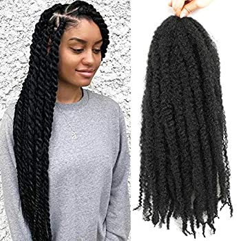 6 Packs Marley Twist Braiding Hair 24 Inch Marley Hair Crochet Braids Long Afro Kinky Synthetic Kanekalon Fiber Marley Hair For Twists Braiding Hair Extensions  24inch 1#