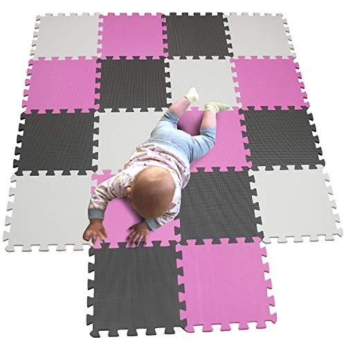 MQIAOHAM Esterilla Puzzle de Fitness-18 losas de EVA Espuma Alfombrilla Protección para el Suelo para máquinas Deporte y gimnasios sobre el Piso Fácil de Limpiar Blanco Rosa Gris 101103112