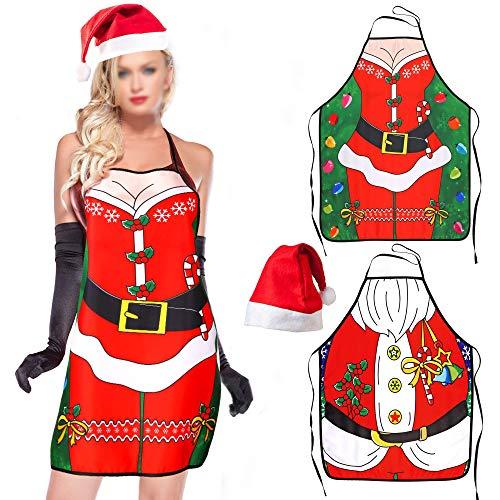 HOWAF 2pcs Navidad Delantales de Cocina Horneando, Sexy Navidad Santa Papa Noel Delantales para Mujer Hombre Adulta Navidad Gracioso Cena Cocina Barbacoa Vestido Decoración con 1 Santa Sombrero