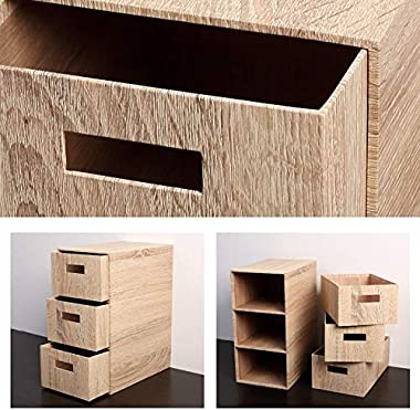Storage Bins, Large Simple Lightweight Robust Natural Seal Push-Pull Three Floors Desktop Organiser Drawer Container Box (Col