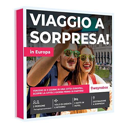 Waynabox - Cofanetto Regalo per Viaggio a Sorpresa per 2 Persone con Volo+Hotel per 3 Giorni e 2 Notti in più di 60 Città in Europa