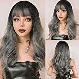 Pelucas largas y rizadas de HAIRCUBE, peluca gris Ombre con flequillo ligero, peluca de pelo de longitud de onda natural para mujeres, señoras, Cosplay, fiesta, uso diario