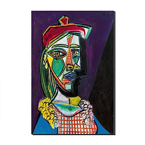 Mujer Con Boina Y Vestido A Cuadros De Pablo Picasso Pinturas Al óleo Sobre Lienzo Reproducción De Arte Impreso En Lienzo Arte De La Pared Arte Para Decoraciones Del Hogar (Sin marco,50_x_70_cm)
