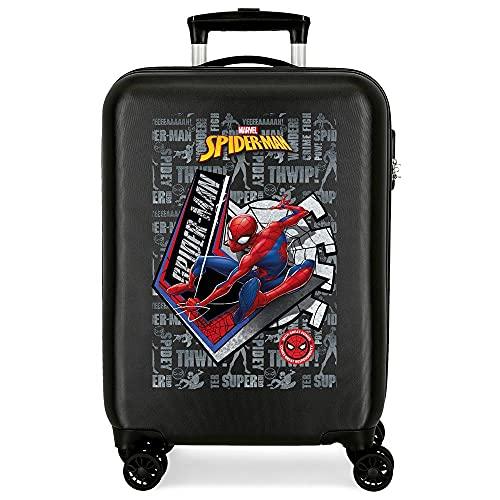 Marvel Spiderman Great Power Maleta de Cabina Negro 38x55x20 cms Rígida ABS Cierre de combinación Lateral 34 2 kgs 4 Ruedas Dobles Equipaje de Mano