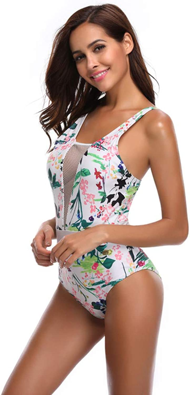 Womens Swimwear Slim Jade Soft Flower Deep V mesh Siamese Printing Swimsuits Sexy Swimming Push Up Costume Bikini Set Beachwear