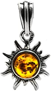 Amber Sterling Silver Very Small Tiny Sun Charm Pendant