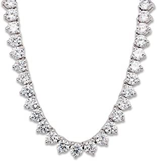"""AFFY 30"""" Long 5MM Round Cubic Zirconia Tennis Necklace 14K White Gold Over Sterling Silver for Women & Men"""