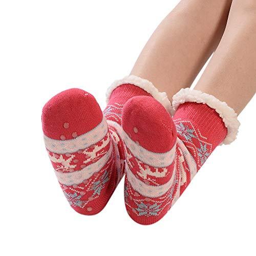 PPangUDing 1 Paar Weihnachten Socken Damen Wintersocken Weiche Warme Dicke Wollsocken Plüschsocken Rutschfeste Flauschige Gemütlich Kuschelsocken Schlafsocken Stricksocken Sportsocken