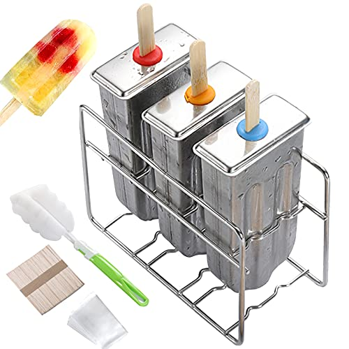 3stk Eisform Edelstahl Popsicle Formen Eis am Stiel Form Mulden Stieleisform Eis Edelstahlform spülmaschinenfest für Küche Erwachsene Schule Eis DIY Sommer, mit 50 Holzstiel+1 Bürste+3 Eisbeutel
