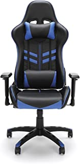 Essentials by OFM Racing-Style Bonded Leather High-Back Gaming Chair, Blue/Black