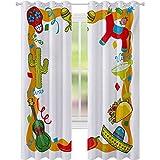 Cortinas con aislamiento térmico, diseño de dibujos animados, pinata mexicana, taco, chile, pimienta, azúcar, calavera, 52 x 84, cortinas bloqueadas para sala de estar, multicolor