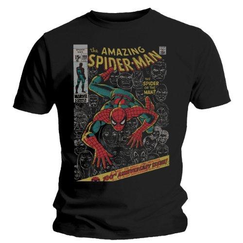"Tee Shirt Noir Homme Spiderman ""100th Anniversary"" Taille M"