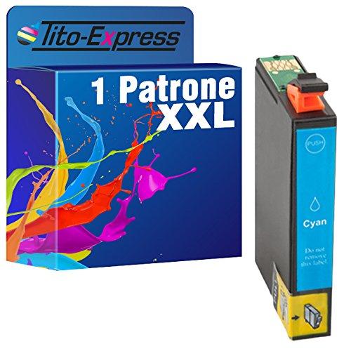 Tito-Express PlatinumSerie 1x Druckerpatrone XXL TE0712 Cyan mit Chip und Füllstandsanzeige für Epson Stylus DX 7400