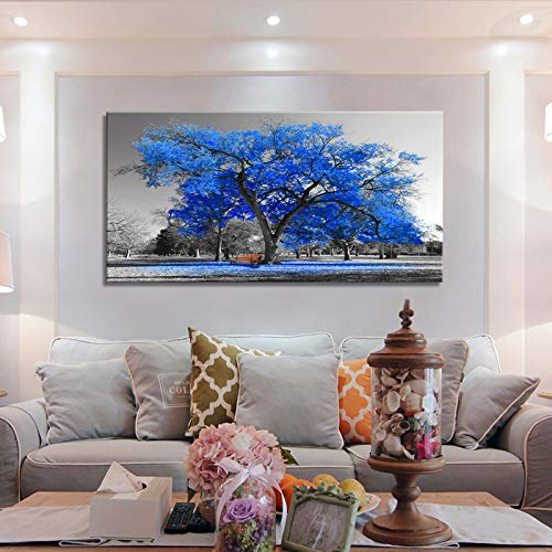 Wall Art Painting Contemporary Blue Tree in Black and White Style Fall Landscape Picture Modern Giclee Stretched and Framed Artwork(24inchx48inch)