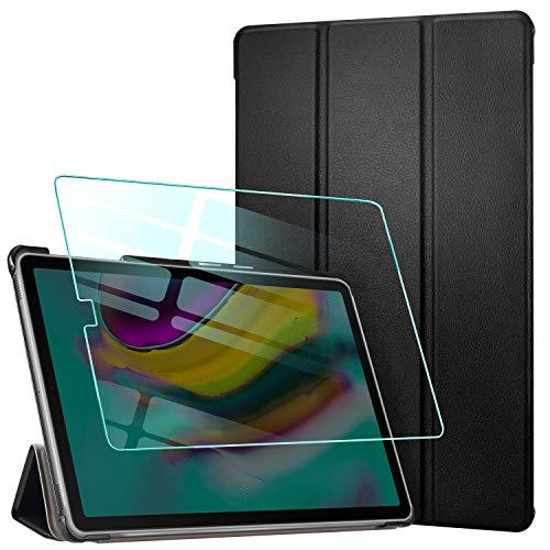 AROYI Custodia Cover Compatibile con Samsung Galaxy Tab S5e 10.5 con Vetro Temperato, Ultra Sottile Leggero Supporto Protettiva in Pelle PU Case con Auto Svegliati/Sonno T720/T725, Nero