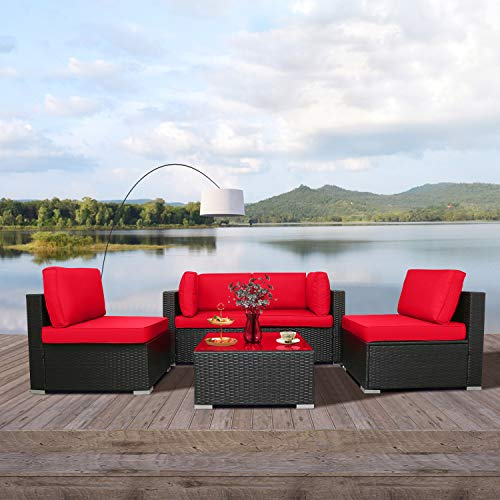 Excited Work 5pcs Patio Outdoor Furniture Sets,All-Weather PE Rattan Wicker Sectional Sofa with Washable Couch Cushions & Coffee Table (Red)