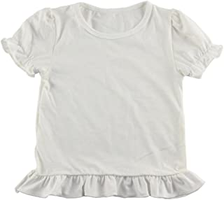 Wennikids Baby Girls' Cotton Ruffle Short Sleeve Top T-Shirt 1-5T