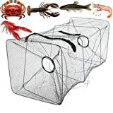 Zumint Collapsible Mesh Crab Crayfish Trap Lobster Shimp Fish Eel Basket Net Fishing Pot Cage Black Features...