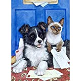 SINACO Diamond Painting Cross Stitch Set for Kids Adults Beginner with Tools Pet Black and White Dog 11,8 x 15,7in by