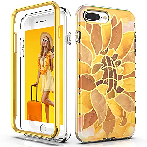 PBRO Case for iPhone 8 Plus Case,iPhone 7 Plus Case,iPhone 6s/6 Plus Case,Glitter Golden Sunflower Flower Marble Design for Girls/Women,Soft TPU+Hard Back Slim Fit Shockproof Protective Case -Yellow