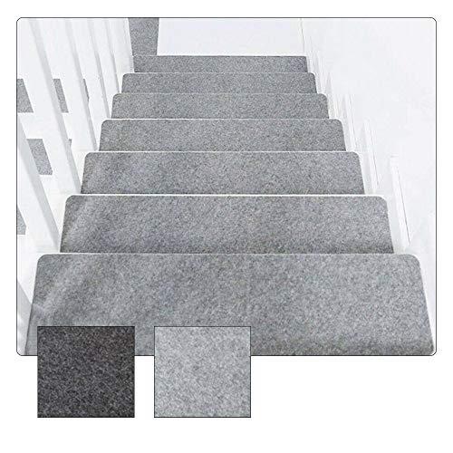 XQK 14 pièces Tapis escalier antidérapant Tapis adhésif Tapis de Marche Couvre Tapis de sécurité Lavable pour Enfants aînés et Animaux de Compagnie (Gris Clair)