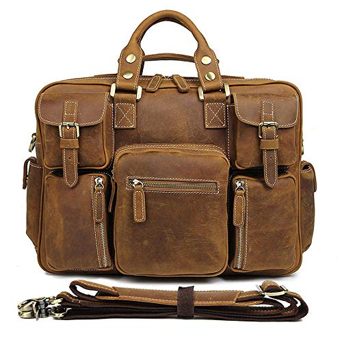 Laptop Messenger Bag Mens Leather Handbag Shoulder Bag Retro Leather Satchel Unisex Long Strap Crossbody Travel Messenger Bags 16 Inch 3 Colors Shoulder Bag (Color : Brown yellow)