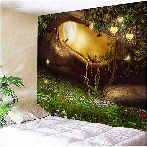 Clair de Moon außen des Waldes geheimnisvoller Baum Hängende Wandteppiche Mandala Landschaft Tapeten Wand Kunst 150 x 200 cm