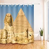 LB Egyptian Pyramid Great Sphinx Statue Bath Curtain by, Ancient King Tomb Historical Sites Theme Shower Curtain, 70x70 Inch Bathroom Curtain Waterproof
