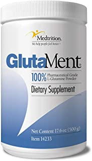 Pure pharma Grade L-Glutamine Powder 10 Gram Scoop 50 Serving jar |GlutaMent|