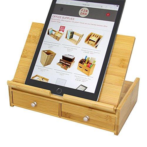 Woodquail Supporto Portatile Leggero per Tablet iPad, Supporto da Tavolo, Regolabile Ripiegabile, Realizzato in Bambù Naturale