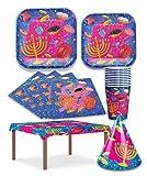 Hanukkah Paper Goods Set - Mega Pack - Serves 8 - Plates, Cups, Napkins, Tablecloth, Hats