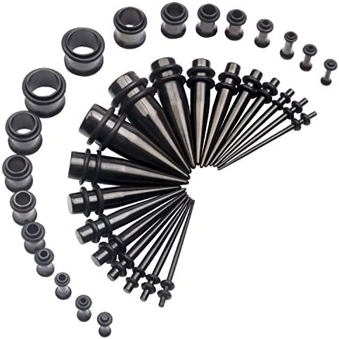 14G 00G 36pcs Ear Gauges Stretching Kit Surgical Steel Tapers Tunnels Plugs Piercing Set Body product image