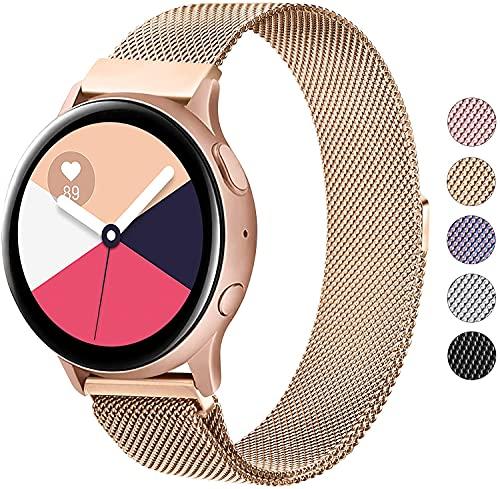 Wanme Correa Compatible con Samsung Galaxy Watch Active/Active 2 40mm 44mm, 20mm Metal Pulsera de Repuesto de Acero Inoxidable para Galaxy Watch 3 41mm / Gear S2 Classic/Gear Sport (Oro Rosa)