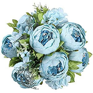 Floralsecret Artificial Silk Peony Flower Vintage Fake Bouquet Home Wedding Decor(Spring Blue)