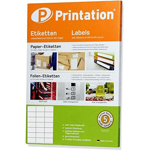 Etiketten 70 x 41 mm 2100 Stück selbstklebend blanko weiß - 100 A4 Bogen à 3x7 70x41 Labels bedruckbar - 3481 4473