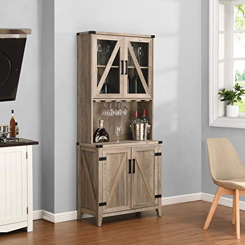 Bar Cabinet with Upper Glass Cabinet (Grey WASH)
