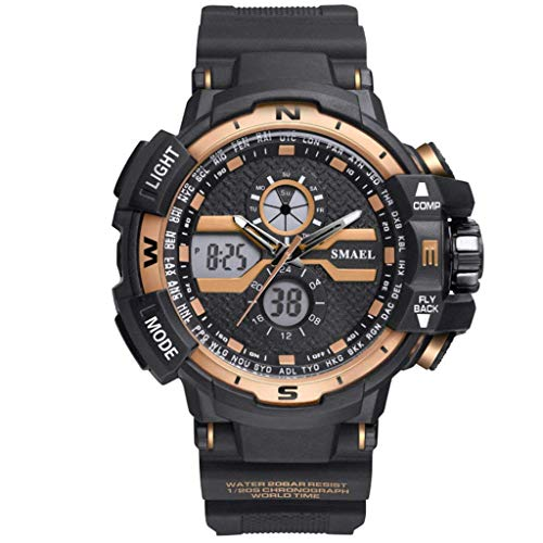 WXDP herenhorloge, waterdicht, fris, elegant, sportief multifunctioneel LED-horloge, pointer + digitaal dual display elektronische klok